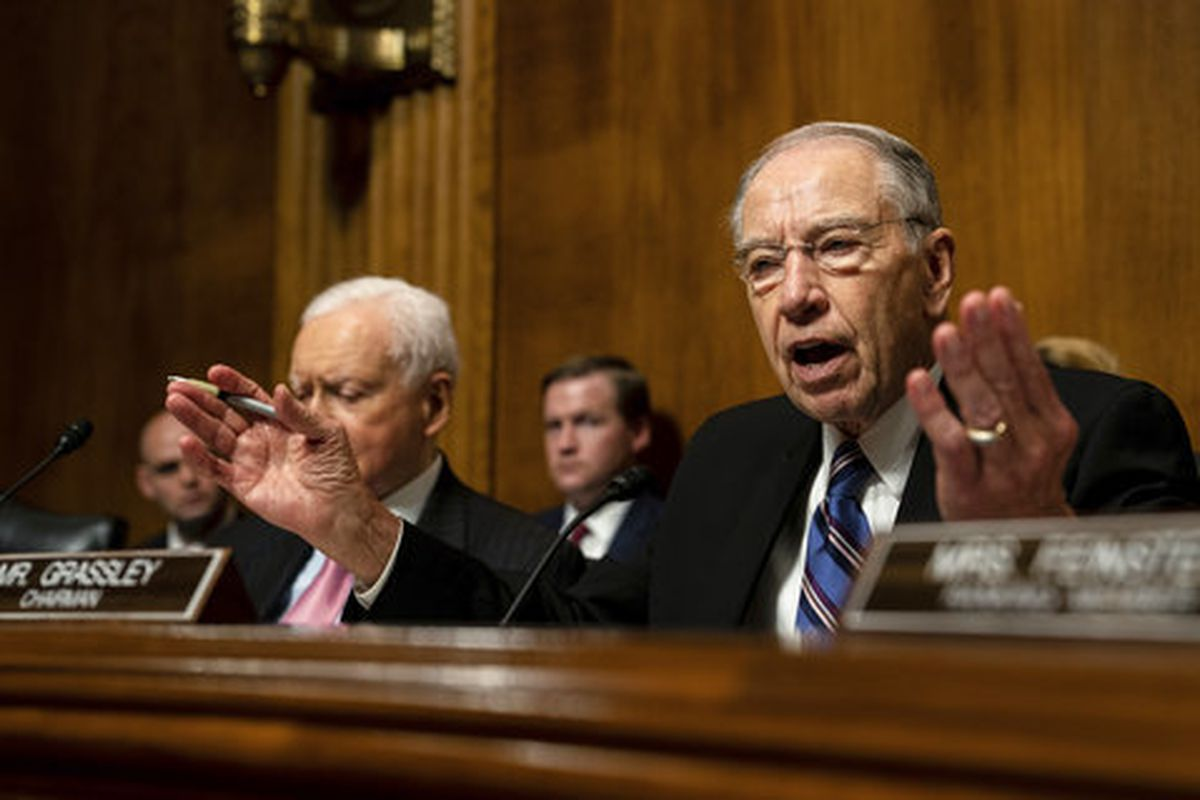 FILE - Senate Judiciary Chairman Chuck Grassley, R-Iowa., talks during a Senate Judiciary Committee hearing with Christine Blasey Ford, Thursday, Sept. 27, 2018 on Capitol Hill in Washington.