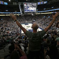 Utah Jazz fans cheer the Jazz in the new Vivint Arena in Salt Lake City on Wednesday, Oct. 18, 2017.
