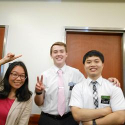 Miles Anderson and his companion Elder Hsu are photographed with Lin Yu-Yu, who Kelsi Anderson taught and who was Marissa Anderson's companion in the Taiwan Taichung Mission.