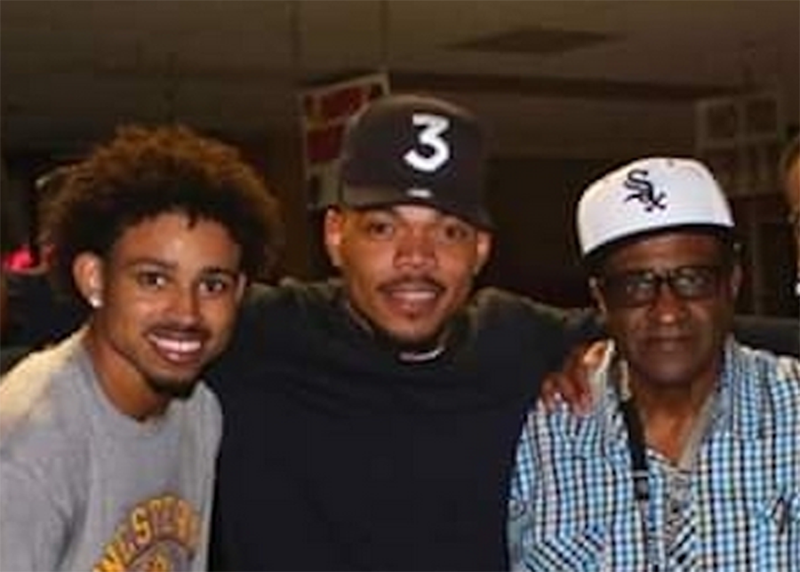 Nate Simpson (in Sox cap) with (from left) his son Nate Simpson III and Chance the Rapper.