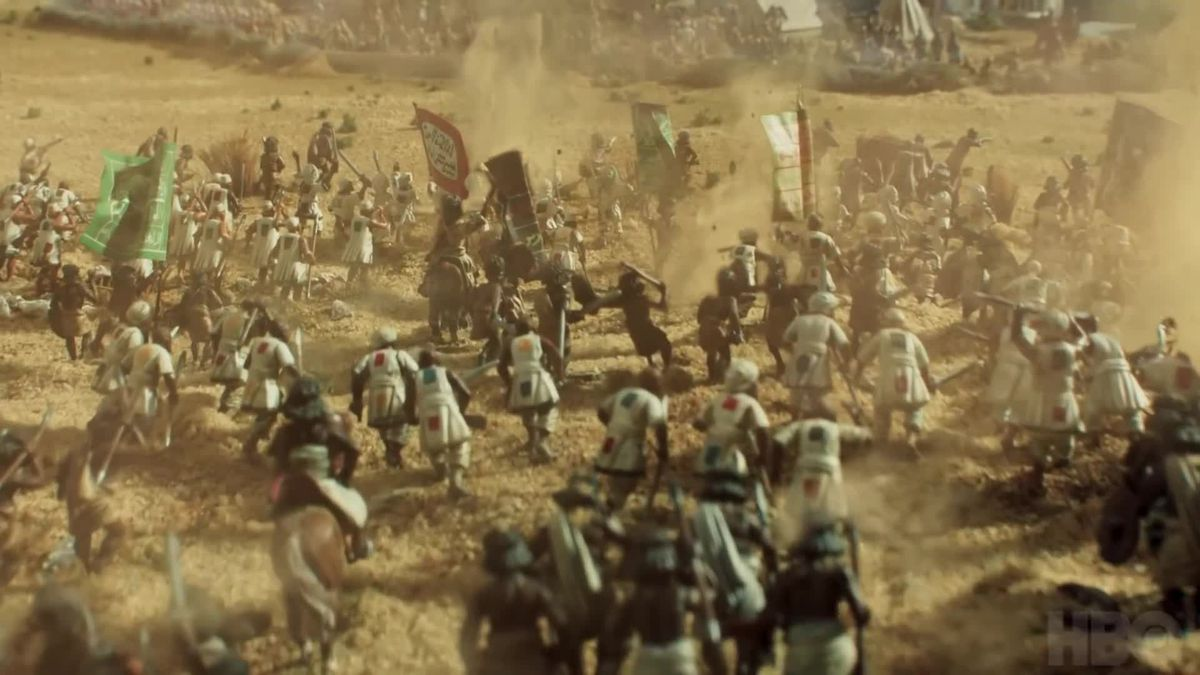 An aerial view of a recreation of a medieval-era war.