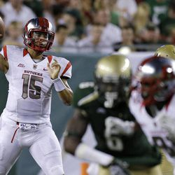 Rutgers quarterback Gary Nova (15) looks for an open receiver against South Florida during the second quarter of an NCAA college football game Thursday, Sept. 13, 2012, in Tampa, Fla.