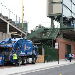 4:43 p.m. Garbage truck parking outside of former Gate R, in the right field corner -