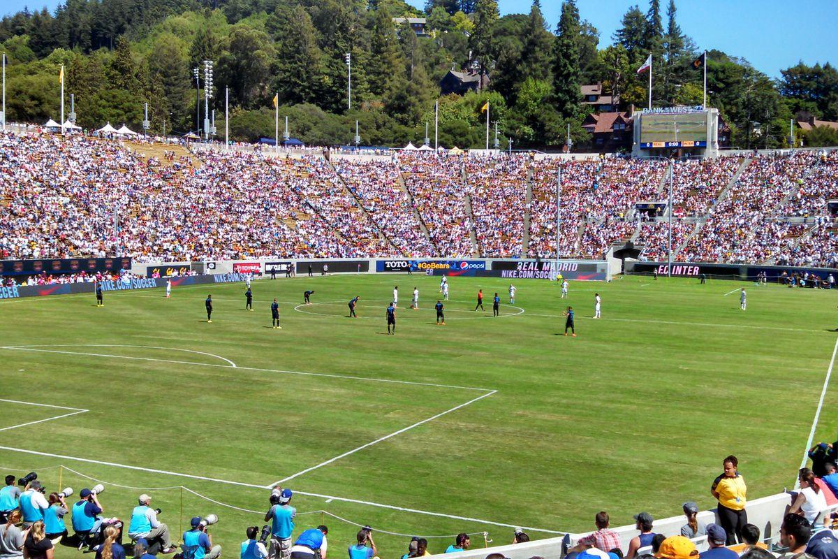 Real Madrid and FC Internazionale prepare to kick off at California Memorial Stadium in Berkeley, California
