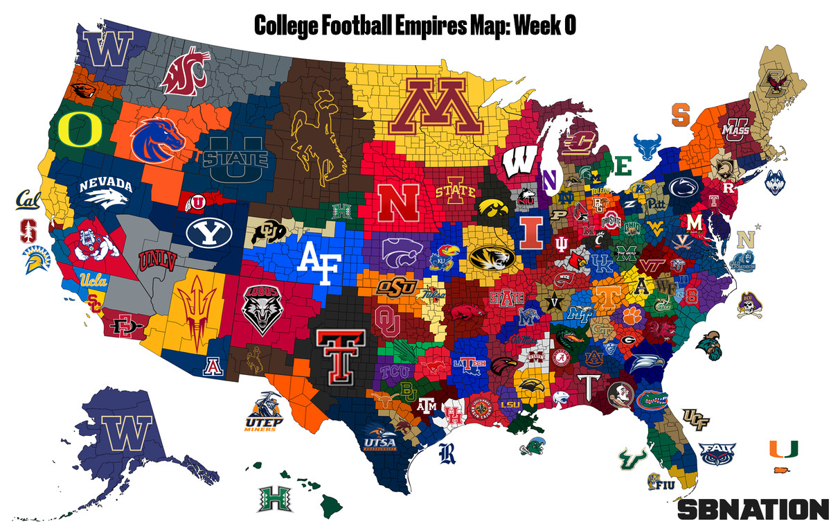 2018 College Football Empires Map, Week 1 - SBNation.com on grid reference, geographic information system, satellite imagery, global map, early world maps, geographic coordinate system, geographic feature, map projection, cartography of the united states, history of cartography,