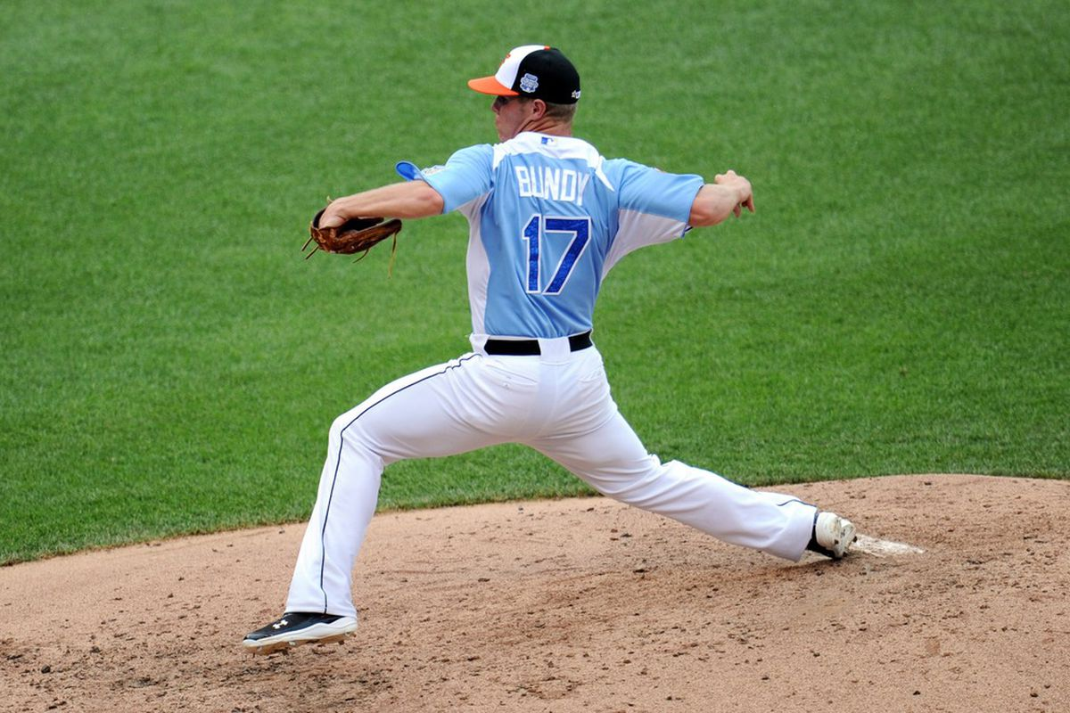 July 8, 2012; Kansas City, MO, USA; USA pitcher Dylan Bundy throws a pitch during the fourth inning of the 2012 All Star Futures Game at Kauffman Stadium.  Mandatory Credit: Peter G. Aiken-US PRESSWIRE
