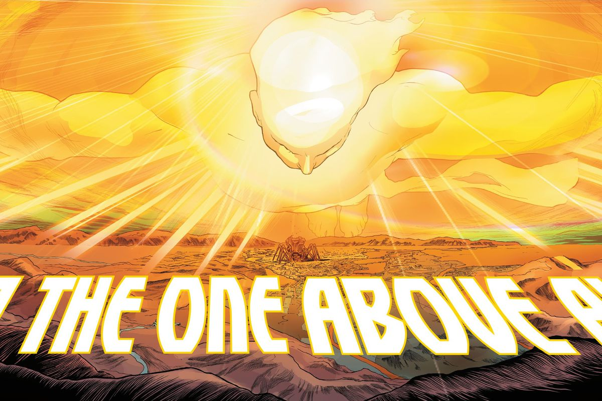 The One Above All, a massive glowing yellow human figure appears in Immortal Hulk #50 (2021).