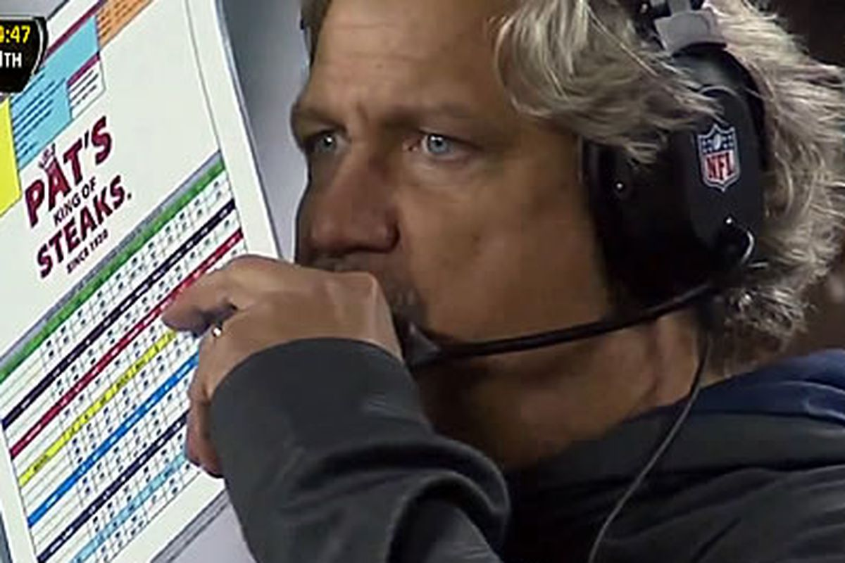 Yes, that's Pat's Steaks logo on Rob Ryan's chart.