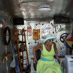 This April 20, 2012, photo shows businesswoman Julia Hutton, who recently launched the Man Cave, a trailer that will offer shoe shines, hair cuts and retail geared toward the men in Ahwatukee, Ariz. Hutton now runs four mobile retail shops through her new venture, ExTreme ReTrailers, LLC.