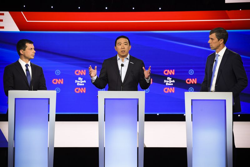 Mayor of South Bend, Indiana Pete Buttigieg, Entrepreneur Andrew Yang and former Representative for Texas Beto ORourke participate in the fourth Democratic primary debate of the 2020 presidential campaign.