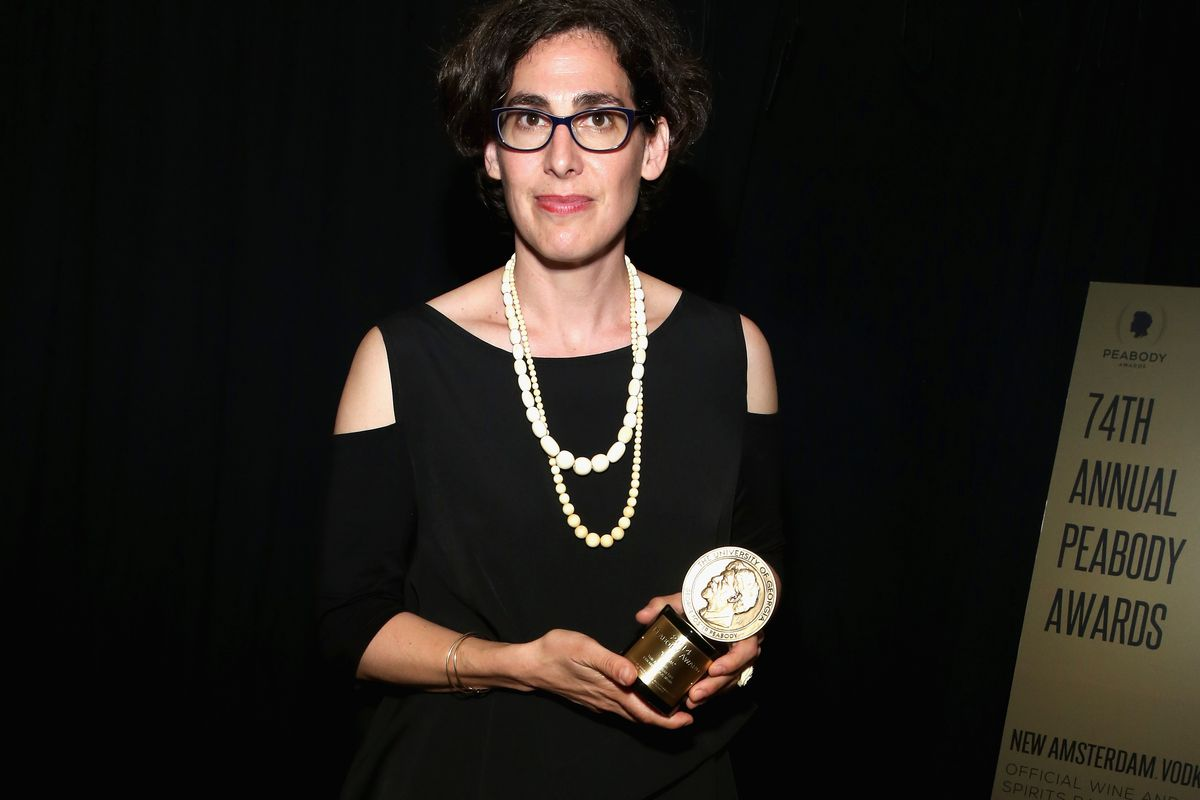 Sarah Koenig, host of the popular Serial podcast, poses with her award at the 74th Annual Peabody Awards Ceremony on May 31, 2015.