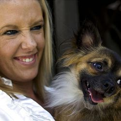 Megan Sellers, a single mom, was forced to get rid of her poodle. She gets food for her Chihuahua from a food bank.