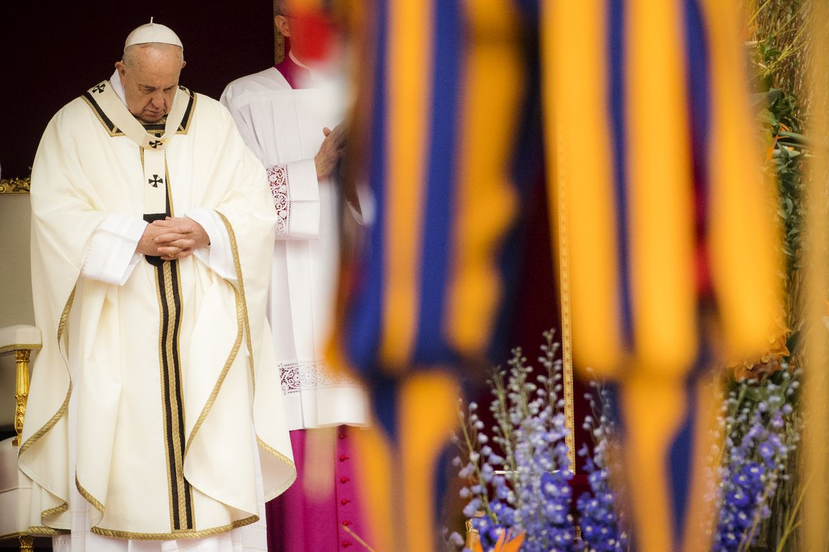 """Pope Francis leads the Easter Mass in St. Peter's Square in Vatican City, Vatican. He referred to the attacks asacts of cruel violence. """"I entrust to the Lord all those who have tragically perished,"""" he said, """"And I pray for the injured and all thos"""