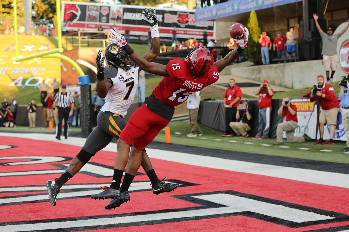 The acrobatic Tres Houston is one of many Red Wolves prospects looking to impress NFL scouts