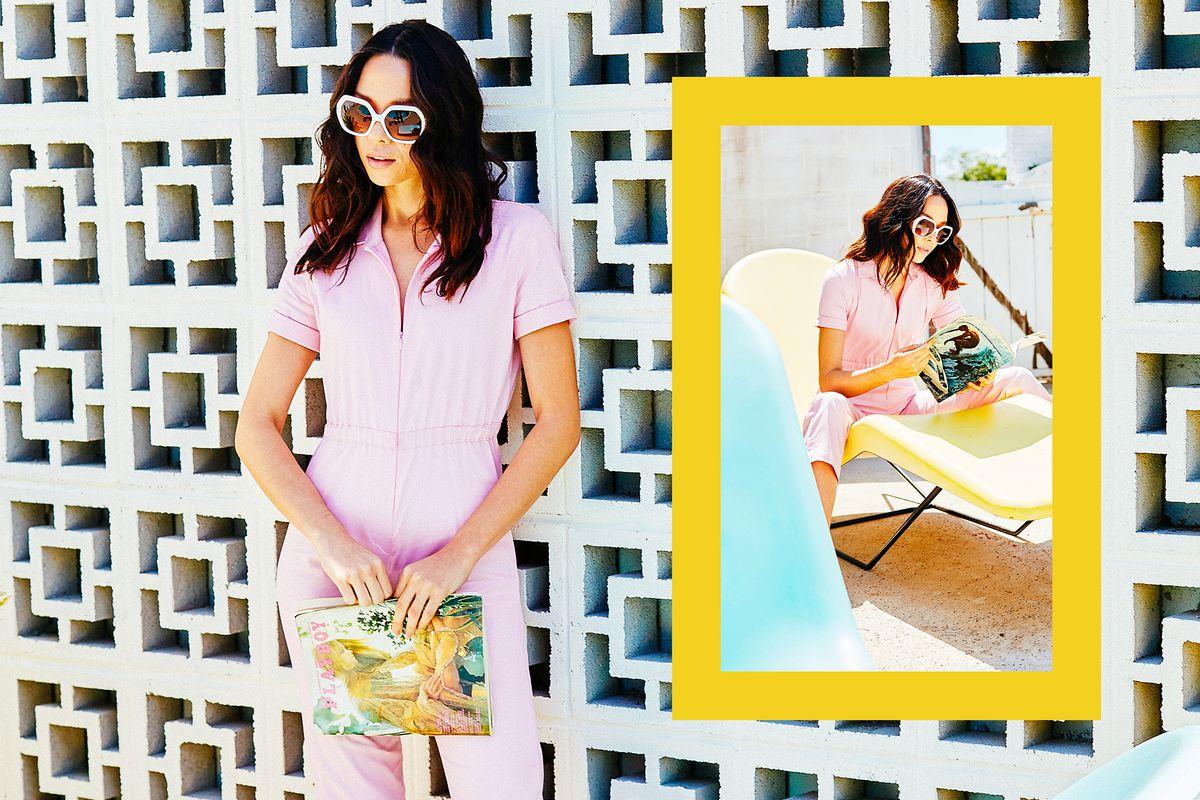 7258e705fa ...  42 Model in pink jumpsuit. Jane Jumpsuit ...