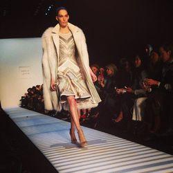"""""""Loving the white long fur @herveleger."""" - <a href=""""http://instagram.com/p/kK5K-uqhc_/""""target=""""_blank"""">@thestyleeditrix</a>"""