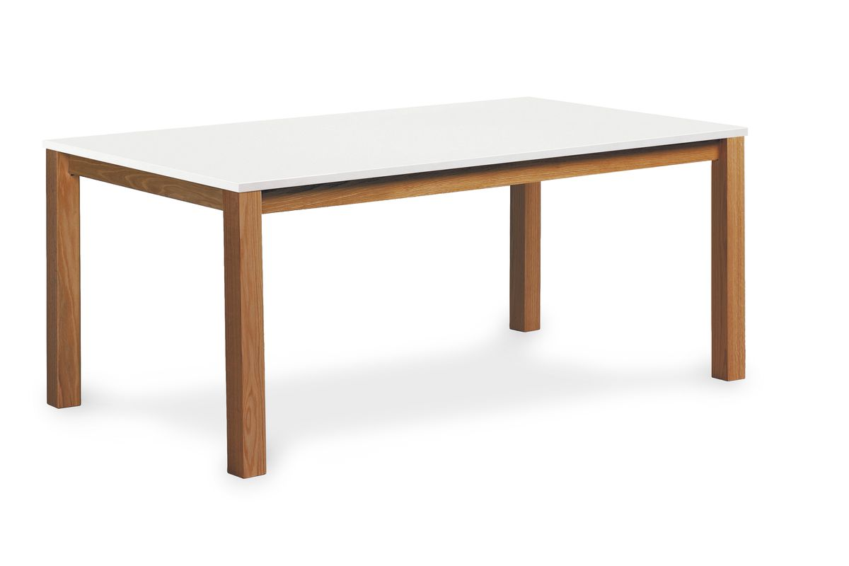 Walnut wooden table with white surface.
