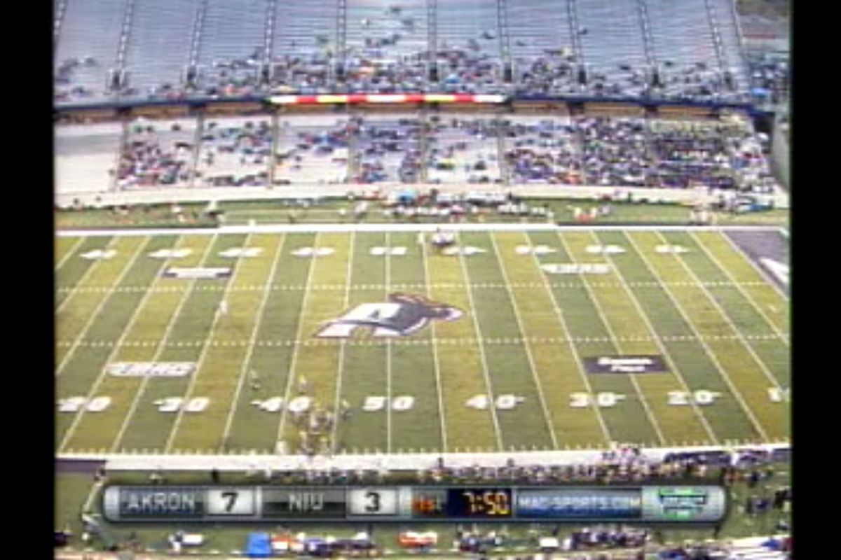 A capacity homecoming crowd watches in delight inside of Akron's brand new $61.6 million dollar InfoCision stadium.
