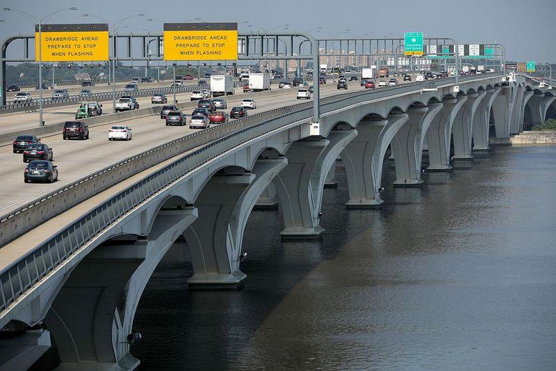 A bridge full of cars