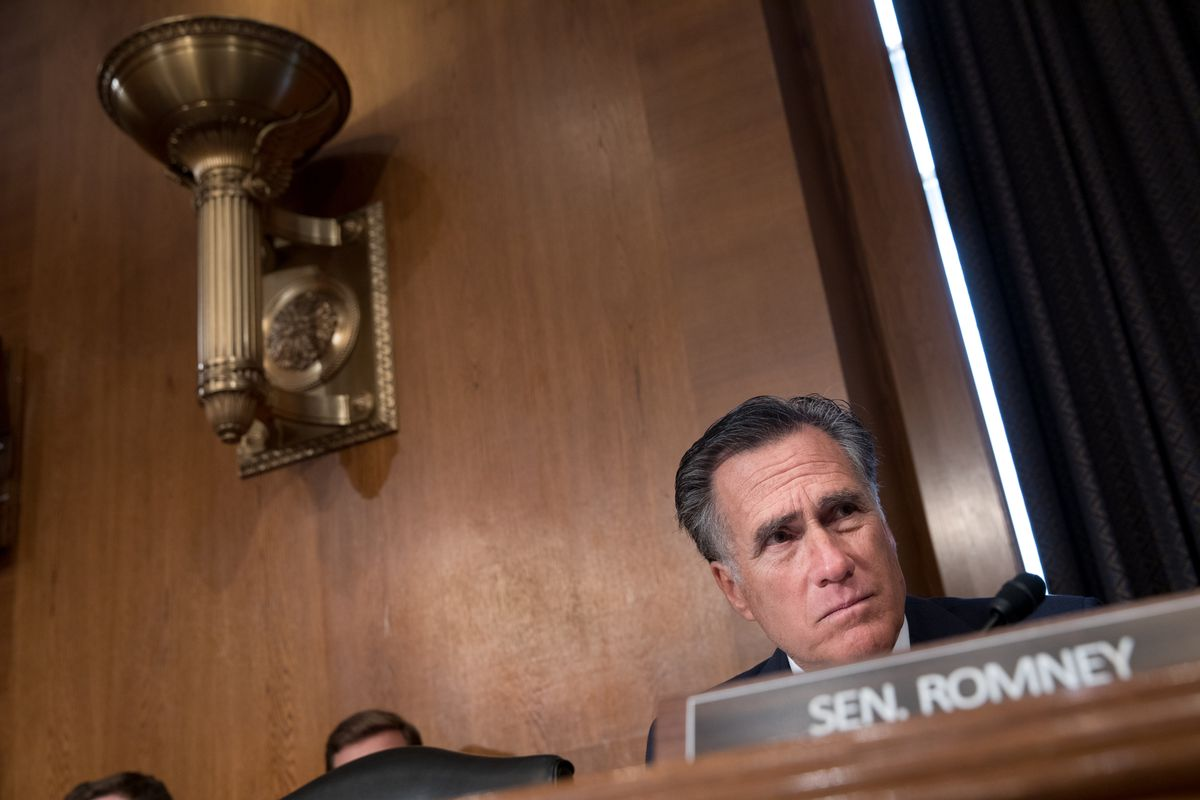 Sen. Mitt Romney, R-Utah, attends the HELP Hearing: Implementing the 21st Century Cures Act on Capitol Hill in Washington on March 26, 2019.
