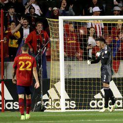 Real Salt Lake goalkeeper David Ochoa (1) celebrates a stop as Real Salt Lake and LA Galaxy play at Rio Tinto Stadium in Sandy on Wednesday, Sept. 29, 2021. RSL won 2-1.