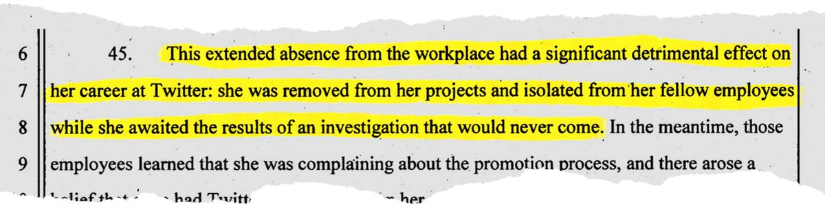 In a court filing, Huang details how the leave of absence had a detrimental effect on her career.