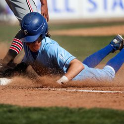 Pleasant Grove's Ryker Schow is out at first base after getting caught before he could tag up on a line drive in a high school baseball game against American Fork on Tuesday, May 4, 2021.
