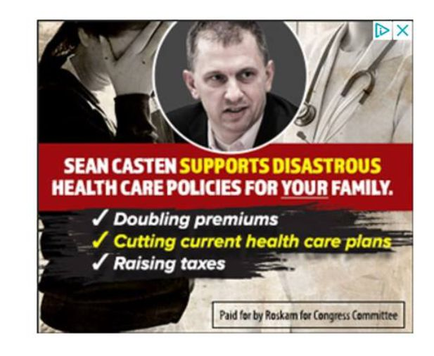 Screen shot from a social media ad attacking Democrat Sean Casten's stand on healthcare.   Facebook