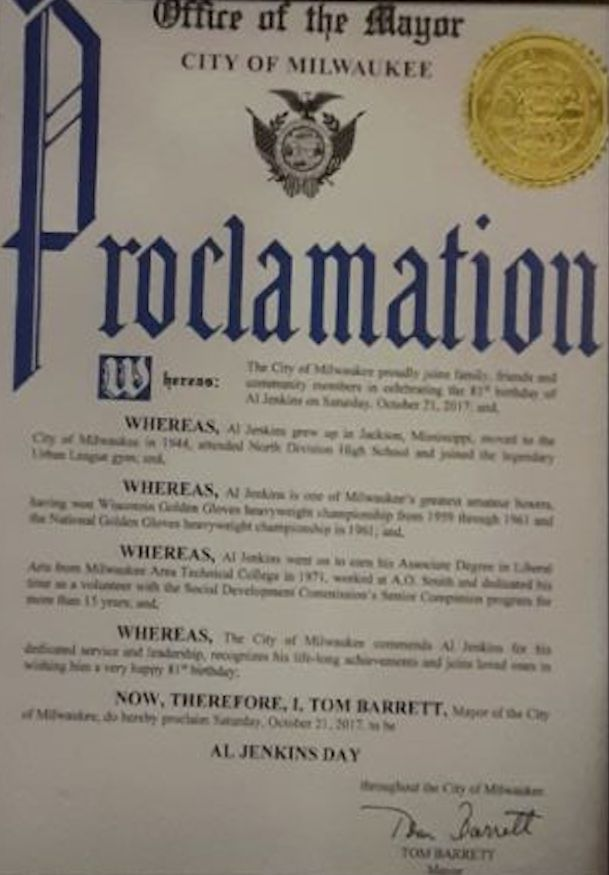 """Milwaukee Mayor Tom Barrett proclaimed Oct. 21, 2017, Al Jenkins Day in his city, praising his volunteer work and calling him """"one of Milwaukee's greatest amateur boxers."""""""