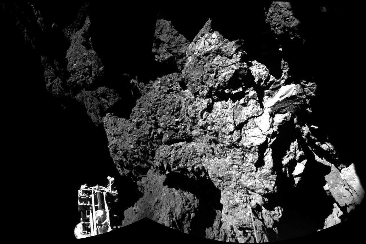 The first photo taken by Philae from the comet. One of its three legs can be seen in the foreground.