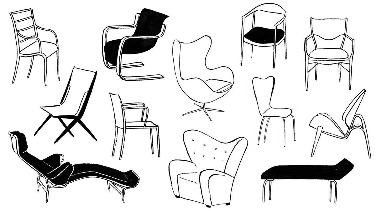 An illustration of Scandinavian chairs.