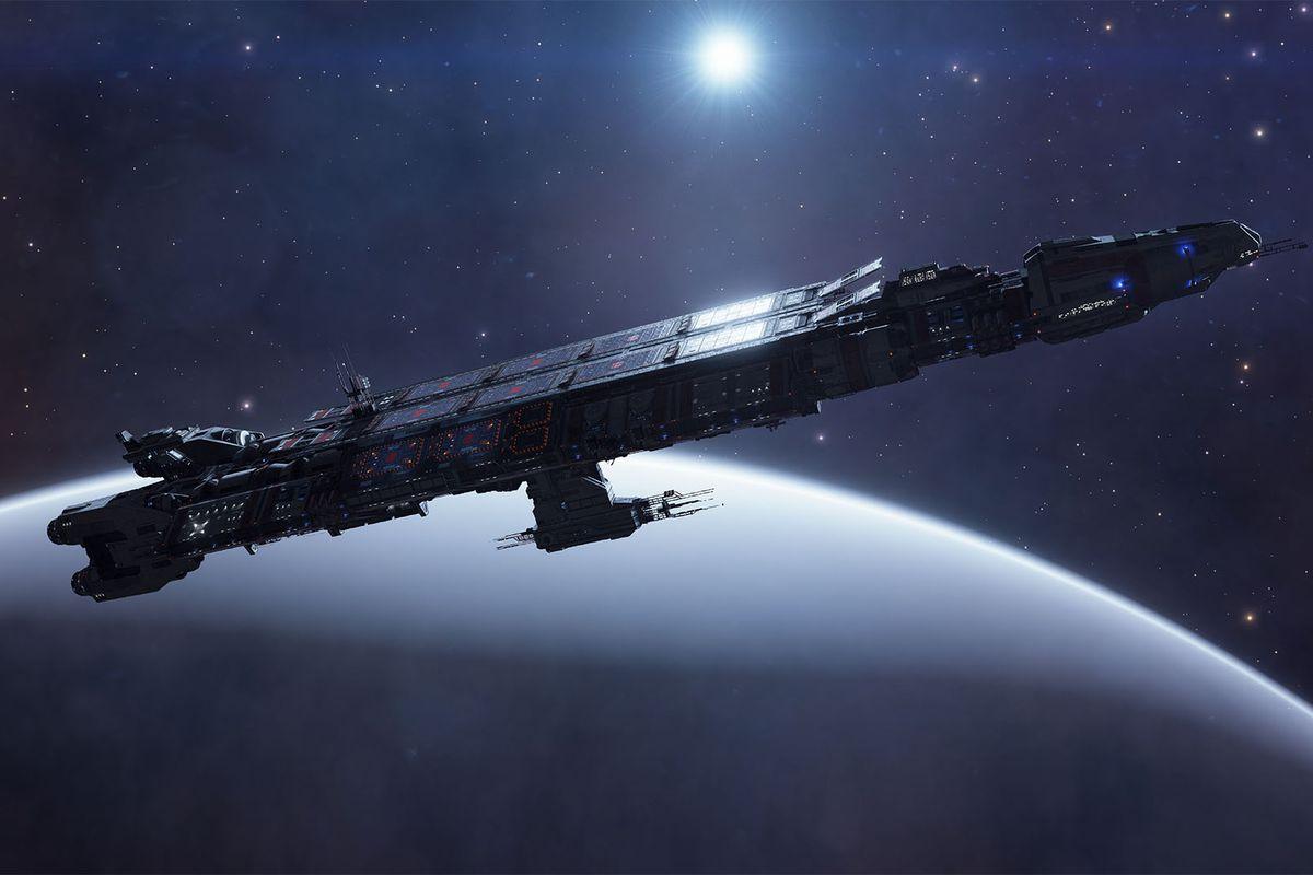 A Fleet Carrior arcs over a snowy world, a dim blue star illuminating it from behind.