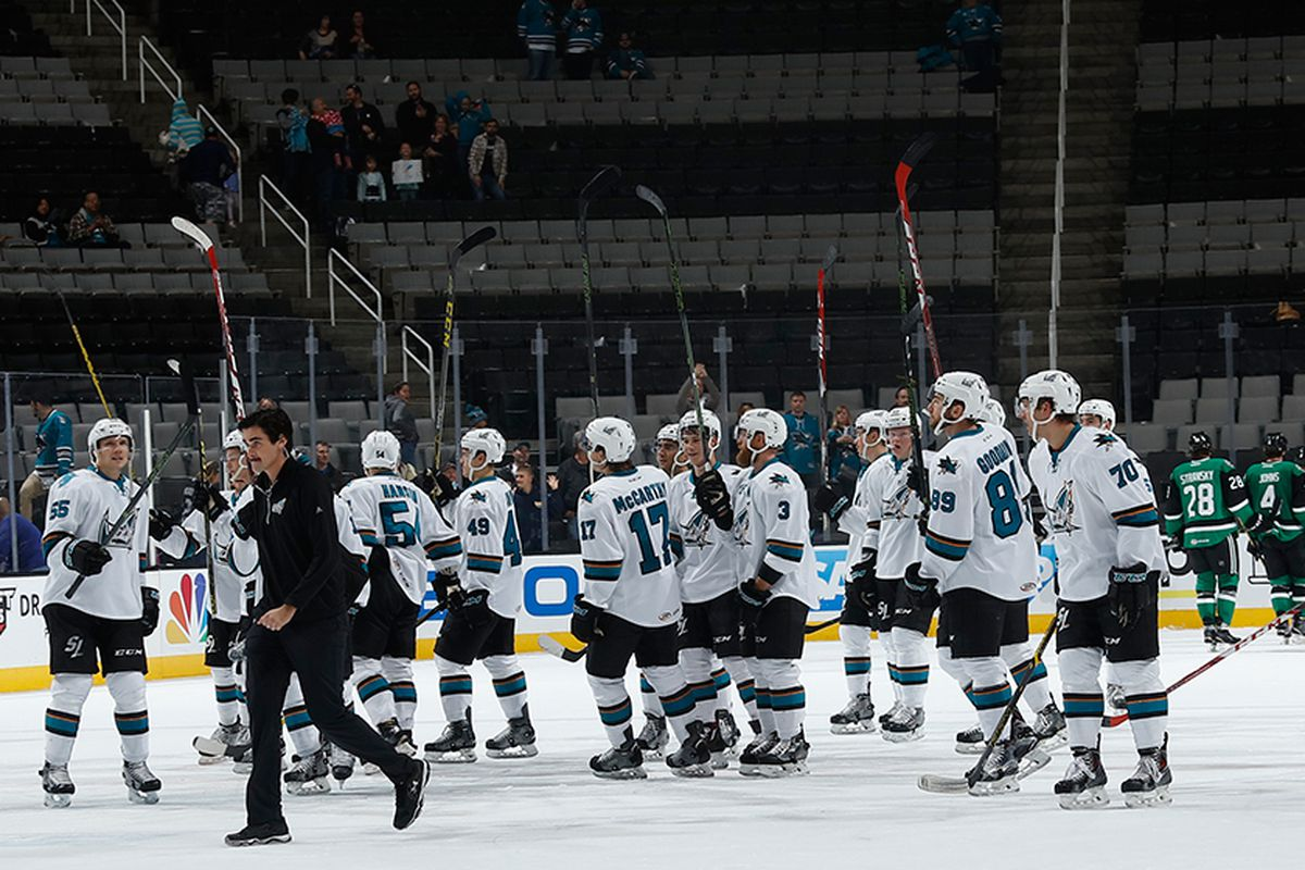 The San Jose Barracuda salute the SAP Center home crowd after defeating the Texas Stars 5-4 Saturday afternoon. (SJBarracuda.com)