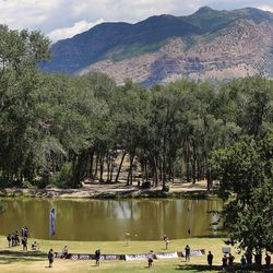 Disc golfers compete during the Professional Disc Golf World Championships at Fort Buenaventura Park in Ogden on Saturday, June 26, 2021.
