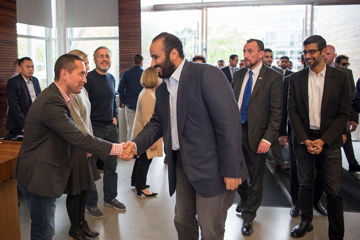 Crown Prince of Saudi Arabia Mohammed bin Salman Al Saud, center, shakes hands on a visit to Google headquarters.