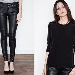 "<strong>Blk Dnm</strong> Platt Black Jeans 4, <a href=""https://shopacrimony.com/products/blk-dnm-womens-platt-black-jeans-4"">$186</a> (was $265), paired with <strong>Jonathan Simkhai</strong> Silk Rib Top, <a href=""https://shopacrimony.com/products/jonath"