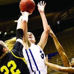 Kristen Riley readies a shot in BYU's home game against the San Francisco Dons on Thursday. San Francisco won, 71-64.