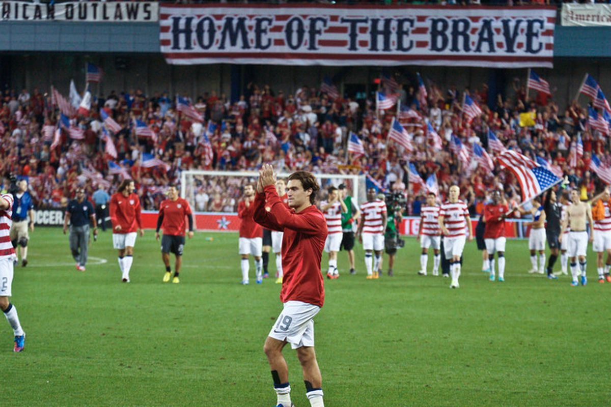 Graham Zusi applauding the fans in KC after the U.S. match
