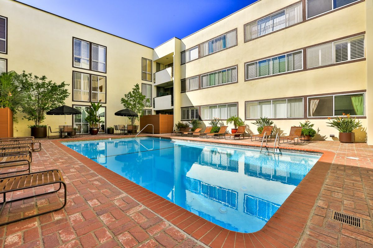 Pool with building behind