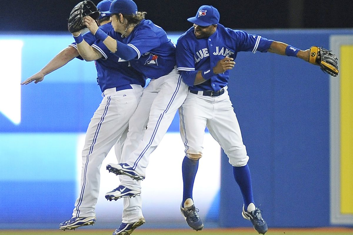 TORONTO, CANADA - JULY 26:  Nice game, fellas.  (Photo by Brad White/Getty Images)