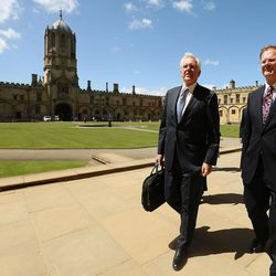 Elder D. Todd Christofferson, of the Quorum of the Twelve Apostles of The Church of Jesus Christ of Latter-day Saints, gets a tour from Philip Tootill at Christ Church, Oxford University, prior to speaking in Oxford, England, on Thursday, June 15, 2017.