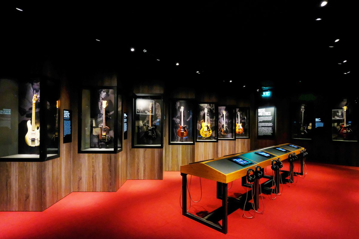 A gallery of original guitars, some still used by the band, along with interactive technology, propel the Recording gallery to life.   Courtesy iEC Exhibitions