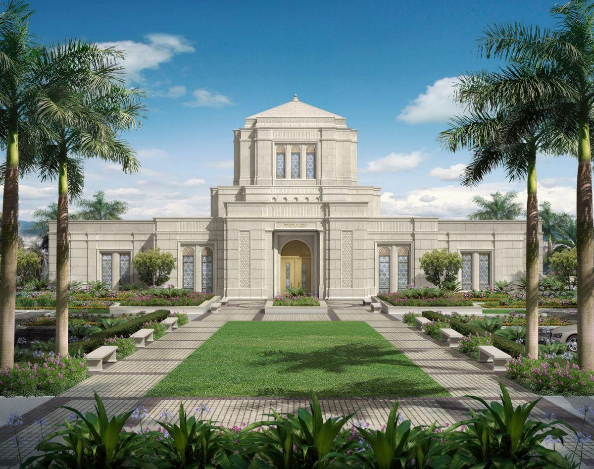An exterior rendering of the Belo Horizonte Brazil Temple.