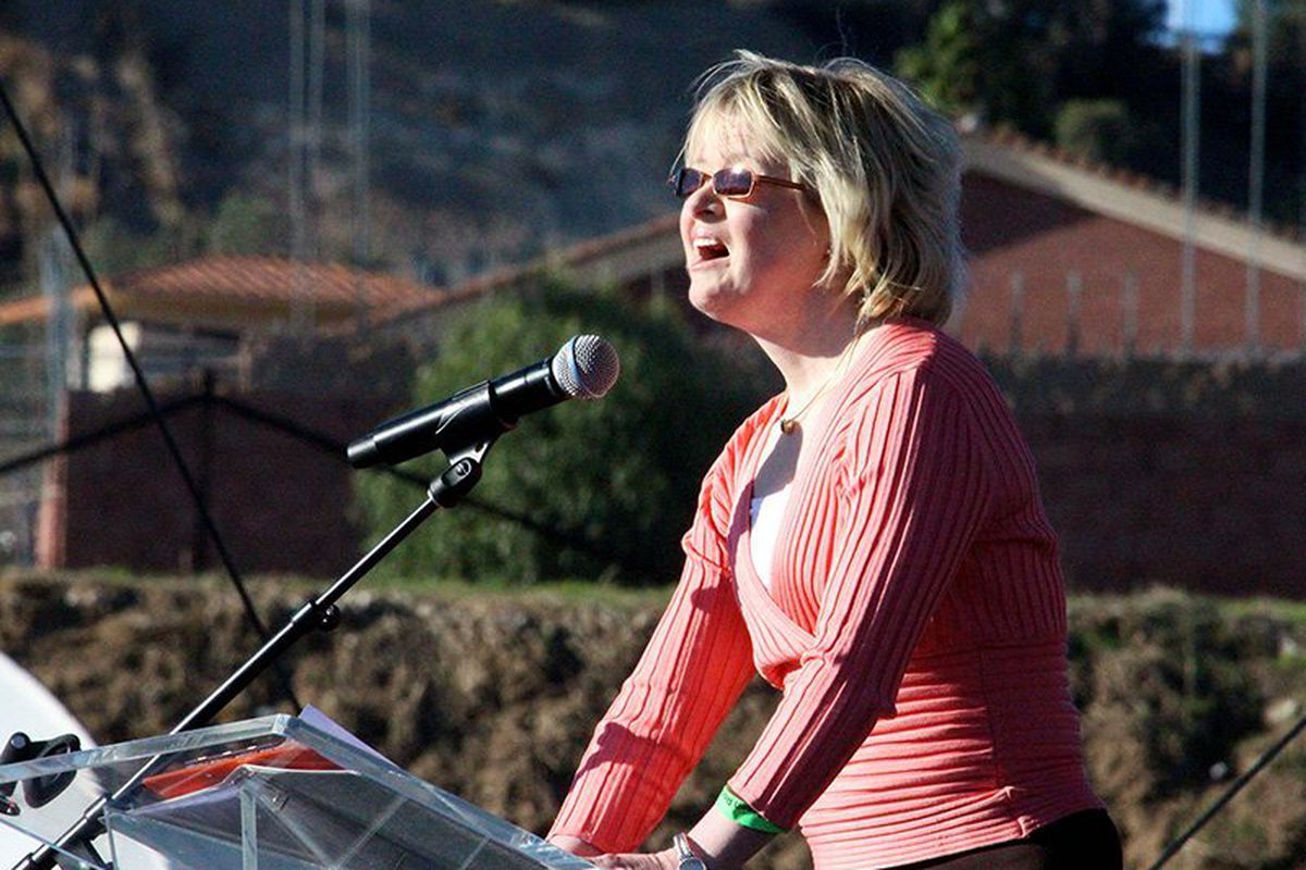 Anti-abortion activist Karen Gaffney speaks at OneLife LA on Jan. 20, 2018, in Los Angeles.