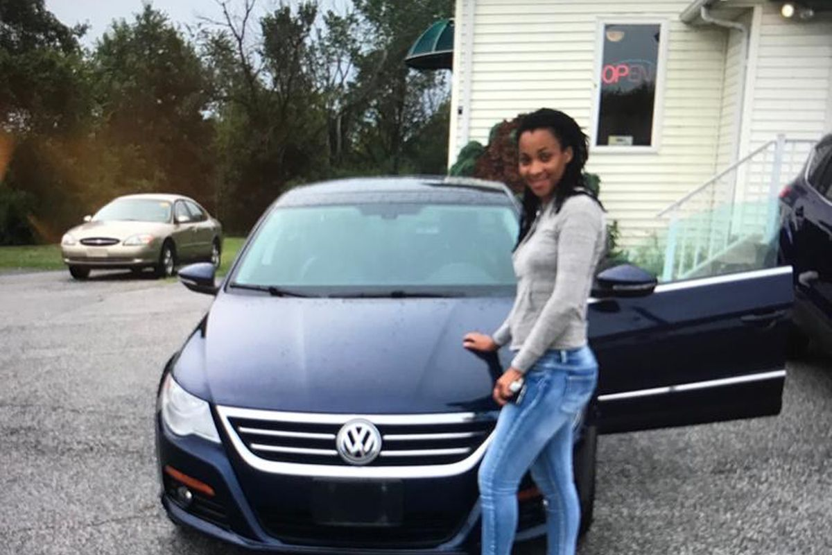 Shauntai Johnson and her car.