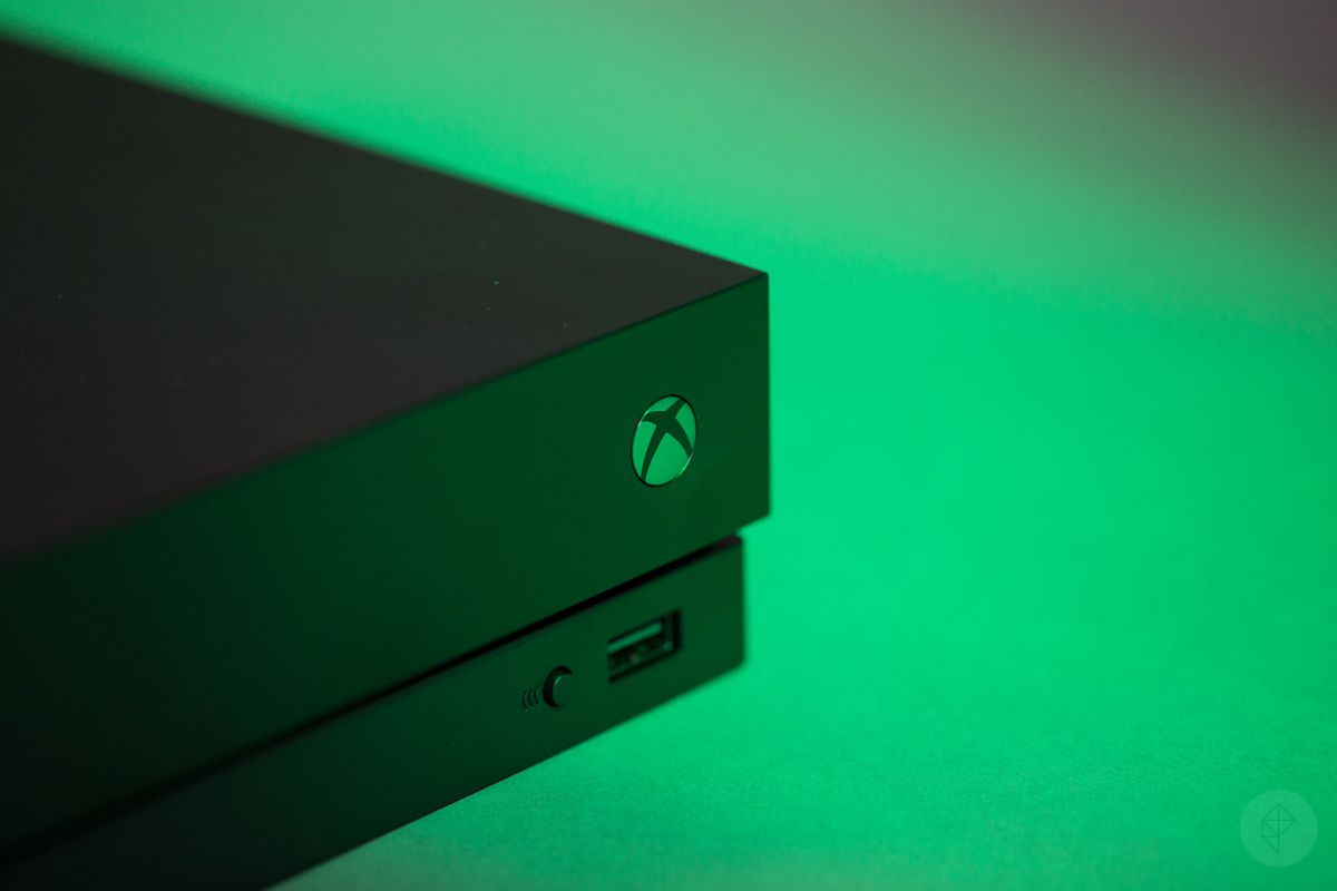 Xbox One X angle view of corner with power button