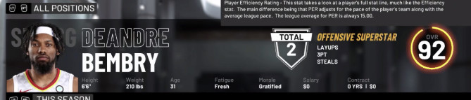 DeAndre Bembry's 92-overall rating.