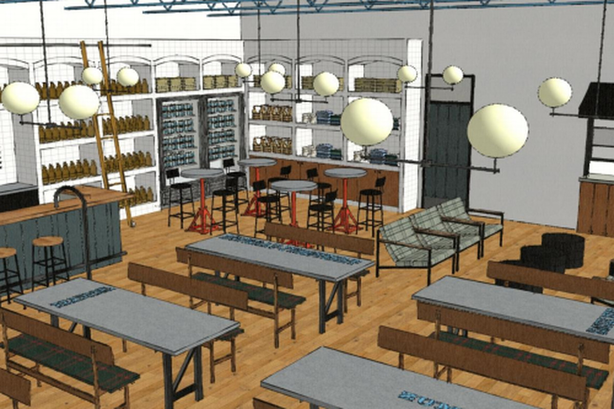 Interior rendering of Livernois Tap and Brewery