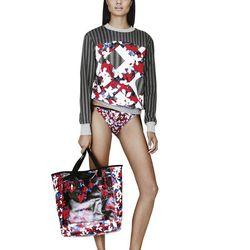 Sweatshirt in Red Floral/Check Print, $29.99*; Bikini Bottom in Red Floral Print, $14.99*; Beach Tote in Red Floral Print, $39.99*; Slip-On Shoe in Black/White Print, $29.99**