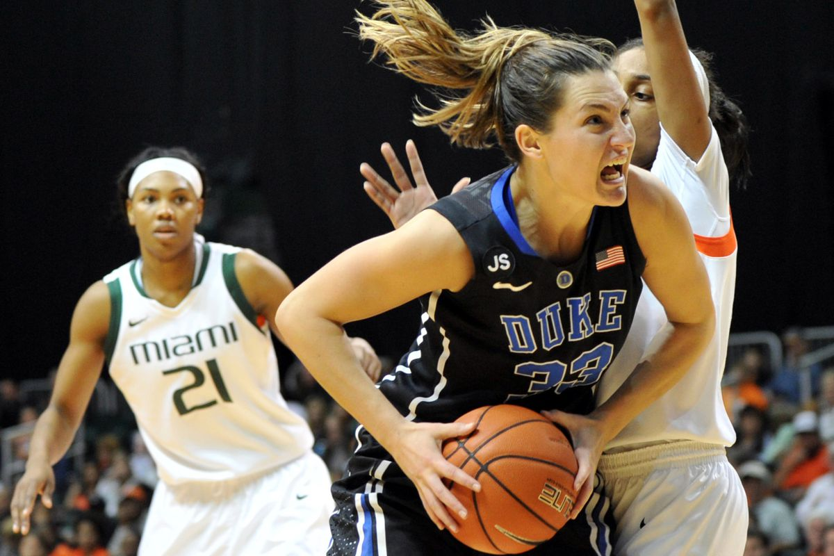 Duke Blue Devils guard/forward Haley Peters (33) is pressured by Miami Hurricanes guard Caprice Dennis (1) during the second half at BankUnited Center. Duke won 76-75